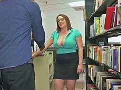 Mega Busty Librarian Maggie Green Fucks Extremely Horny Dude