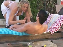 Boy Bangs Big Racked Blonde Milf Julia Ann Beside The Pool